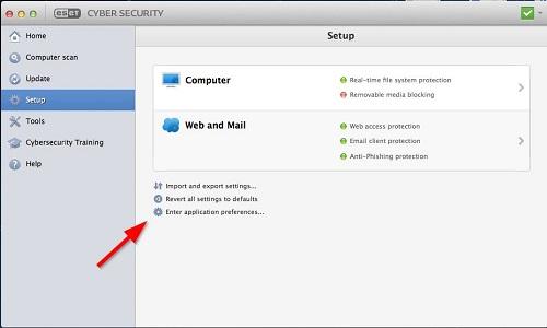 ESET Cyber Security, Setup, Application Preferences