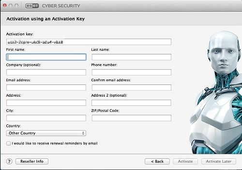 ESET Activation Data Entry, Activate