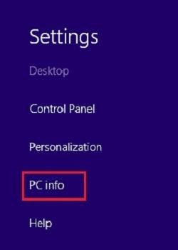 Windows 8 Settings, PC Info