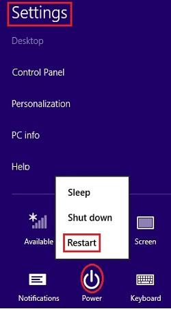Windows 8 Settings, Restart
