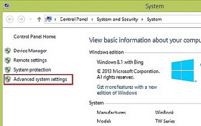 Windows 8 System Properties, Advanced System Settings