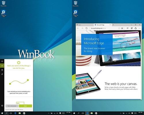 Windows 10 Cortana screen and Microsoft Edge screen