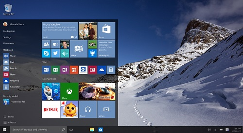 Windows 10 desktop, Start Menu