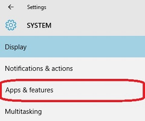 Windows 10 System Settings, Apps and Features