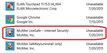 Windows 10 Apps, McAfee