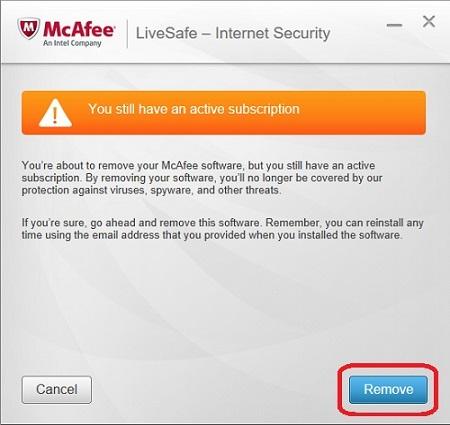 McAfee Uninstaller, Confirmation, Remove