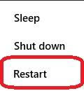 Windows 10 Power Icon Options, Restart