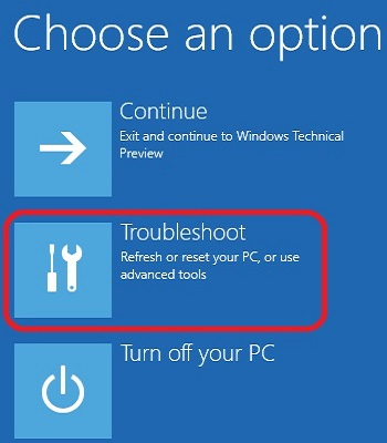 Windows 10 Startup Options, Troubleshoot