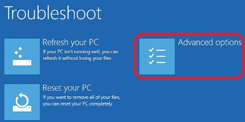 Windows 10 Troubleshooting Startup, Advanced Options