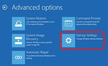 Windows 10 Advanced Startup Options, Startup Settings