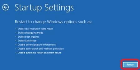 Windows 10 Advanced Startup Settings, Restart