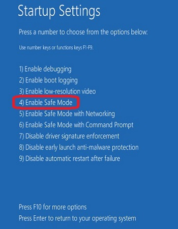 Windows 10 Advanced Startup Settings, Safe Mode Option