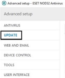 ESET Advanced Setup, Update