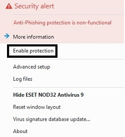 ESET Pause Protection, Confirmation