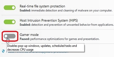 ESET Computer Protection, Gamer Mode, Toggle On Off