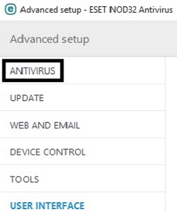 ESET Advanced Setup Options, Antivirus