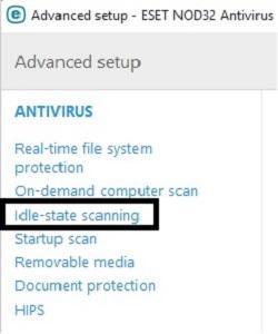 ESET Antivirus Options, Idle-State Scanning