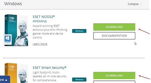 ESET Download Page Choices
