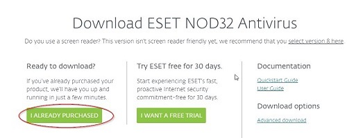 ESET Downloads, Already Purchased
