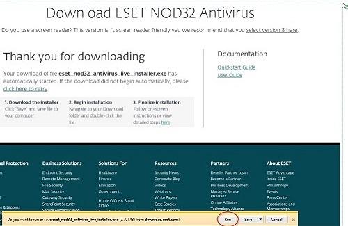 ESET Downloads, Run