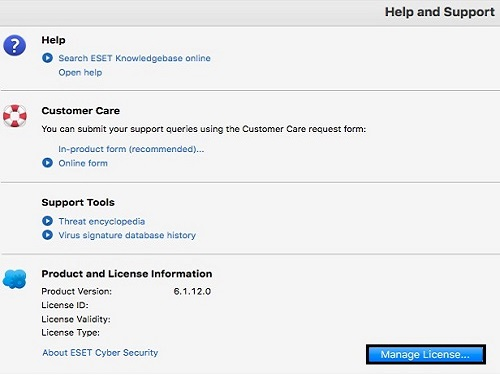 ESET Help and Support, Manage License