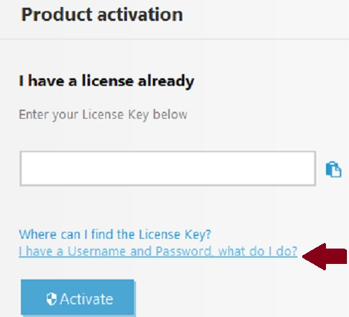 ESET Product Activation, Username and Password