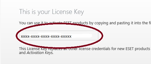 ESET Product Activation, License Key