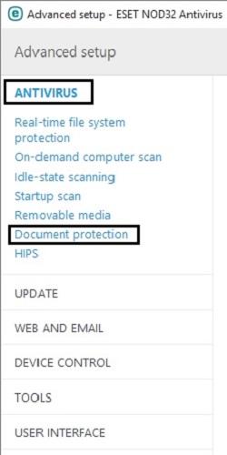 ESET Advanced Setup, Antivirus, Document Protection
