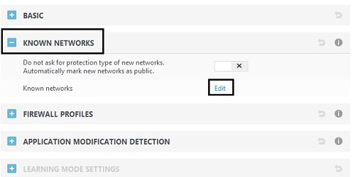 ESET Personal Firewall, Known Networks