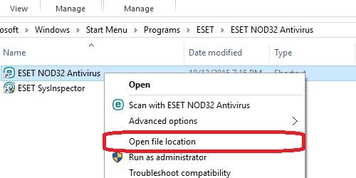 ESET File Location