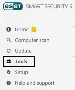 ESET Home Screen, Tools