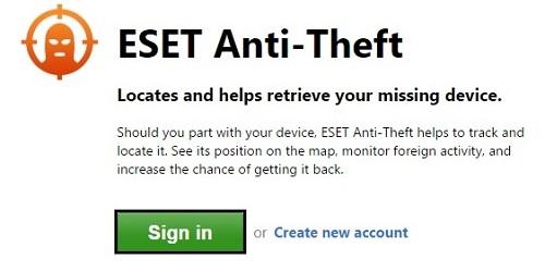ESET Anti-Theft Sign In