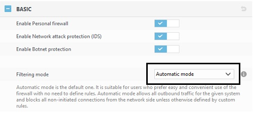 ESET Personal Firewall, Basic Tools
