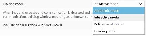 ESET Personal Firewall, Filtering Mode