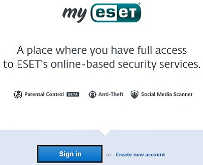 My ESET, Sign In