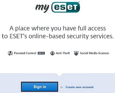My ESET, Sign In