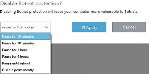 ESET Botnet Protection, Timeframe, Apply