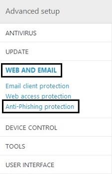 ESET Advanced Setup, Web and Email, Anti-Phishing