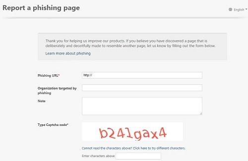 Anti-Phishing Reporting Form