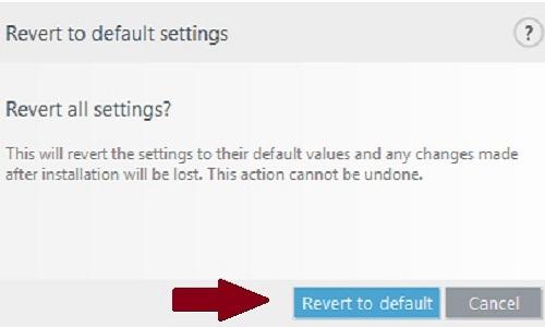 ESET Revert to Default