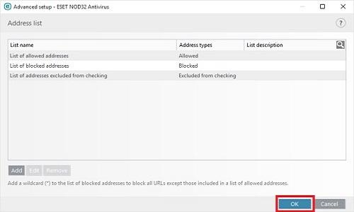 ESET Address Management, OK