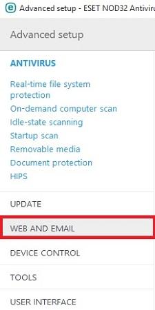 ESET Advanced Setup, Web and Email