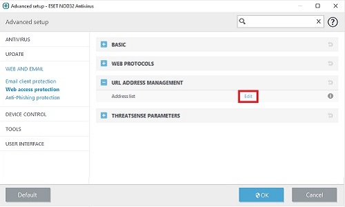 ESET Advanced Setup, Address Management Edit