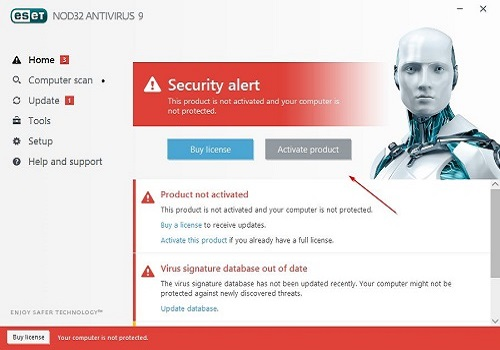 ESET Home Screen Security Alert, Activate Product