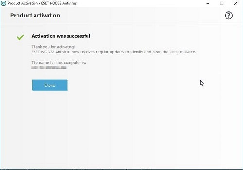 ESET Product Activation Successful