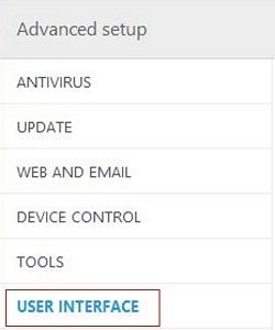 ESET Advanced Setup, User Interface
