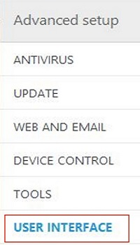 ESET Advanced Setup, User Interface