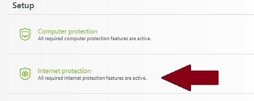 ESET Setup, Internet Protection