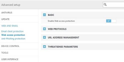 ESET Advanced Setup, Web Access Protection Settings