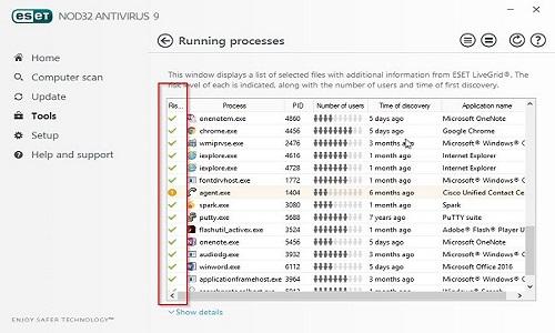 ESET Running Processes Status